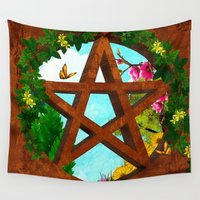 pagan Wall Tapestries featuring Oasis Pagan Folk Art by BohemianBound