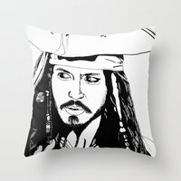 jack sparrow Throw Pillows featuring Captain Jack Sparrow by Evanne Deatherage