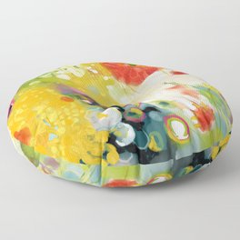 abstract floral art in yellow green and rose magenta colors Floor Pillow