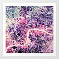london Art Prints featuring London Mosaic Map #2 by Map Map Maps