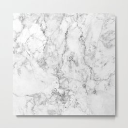Gray & white faux marble no21 Metal Print