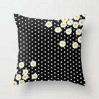 daisy Throw Pillows featuring DAISY by Monika Strigel