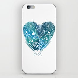 White Inked Floral Heart - Blues iPhone Skin