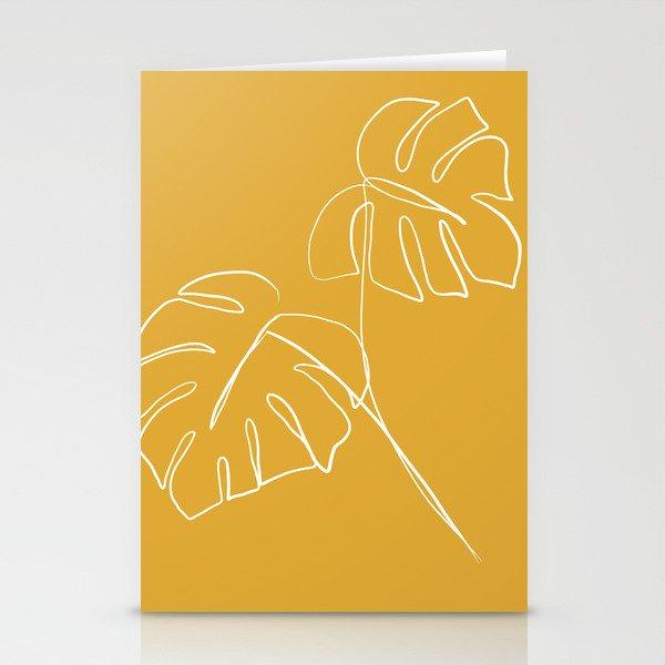 Monstera minimal - yellow Stationery Cards