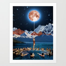 Hanging from the moon Art Print