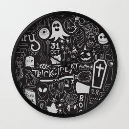 Halloween Doodles (Pale Grey) Wall Clock