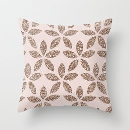 Sparkling rose gold floral Throw Pillow