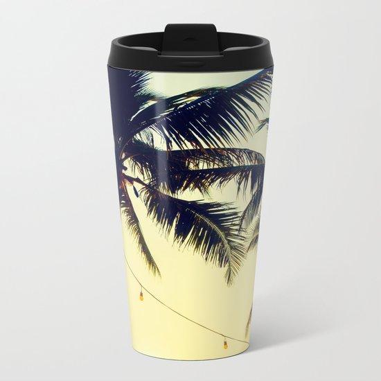 Vintage Palm trees with patio lanterns Metal Travel Mug