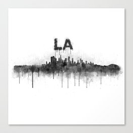 Los Angeles City Skyline HQ v5 BW Canvas Print