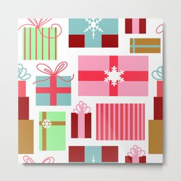 Merry Christmas from Florida | Presents Gift Boxes Bows Tropical Pink Green | Renee Davis Metal Print