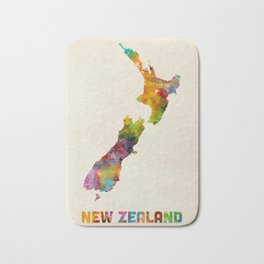 New Zealand, Watercolor Map Bath Mat