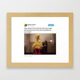 Bird on Bench in Tweet Framed Art Print