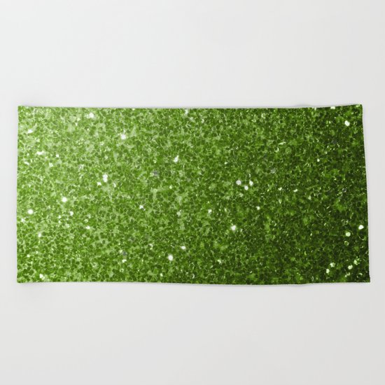 Beautiful Greenery Pantone glitter sparkles Beach Towel