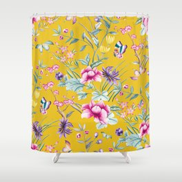 Yellow Chinoiserie Asian Floral Print Shower Curtain