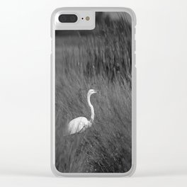 Black & White Common Egret California Pencil Drawing Photo Clear iPhone Case