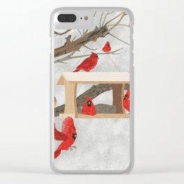 Cardinals at bird feeder Clear iPhone Case