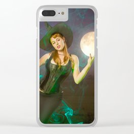 """Moonlighting"" - The Playful Pinup - Halloween Witch Pin-up Girl by Maxwell H. Johnson Clear iPhone Case"