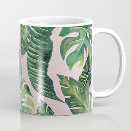Jungle Leaves, Banana, Monstera Pink #society6 Coffee Mug