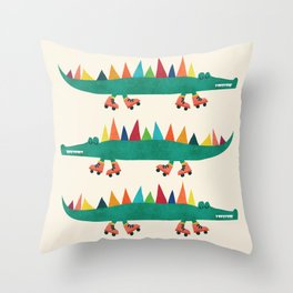 Crocodile on Roller Skates Throw Pillow