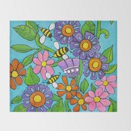 Springtime Series #4 Bee's Throw Blanket