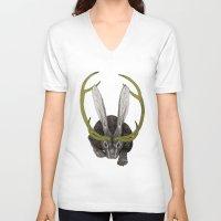 jackalope V-neck T-shirts featuring Jackalope by Justin McElroy