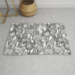 just chickens black white Rug