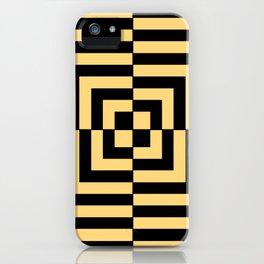 Graphic Geometric Pattern Minimal 2 Tone Illusion Squares (Golden Yellow & Black) iPhone Case