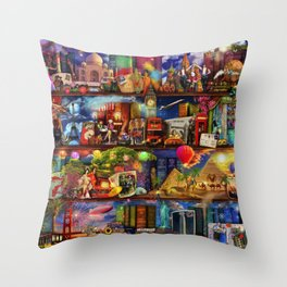 World Travel Book Shelf Throw Pillow