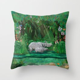 Rhinoceros mom and cub Throw Pillow