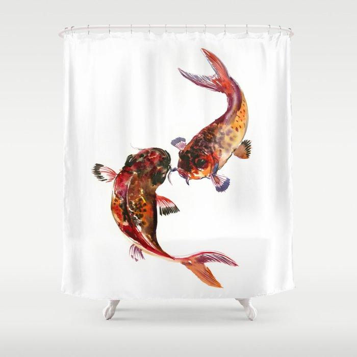 Two Koi Feng Shui Art Fish Design Yin Yang Shower Curtain By Sureart