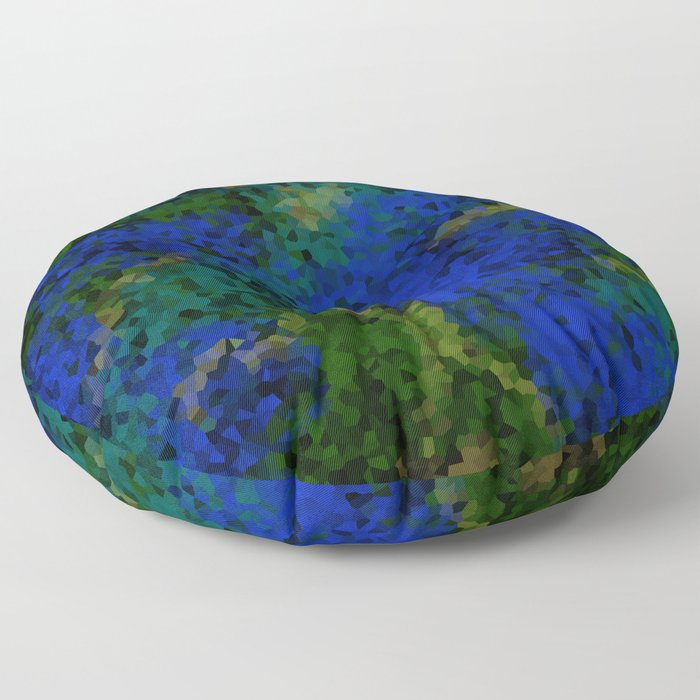 Peacock crystal mosaic Floor Pillow