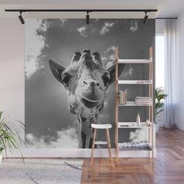 Cool Giraffe Black and White Wall Mural