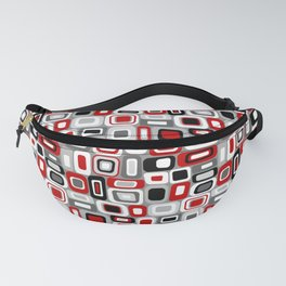 Mid Century Modern Squares and Rectangles // Red, Gray Black, White Fanny Pack