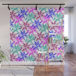colored lilies pattern Wall Mural