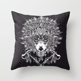 Chief wolf with crossed tomahawks Throw Pillow