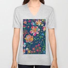 Paper Floral Unisex V-Neck