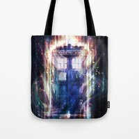 tardis Tote Bags featuring Tardis by jasric