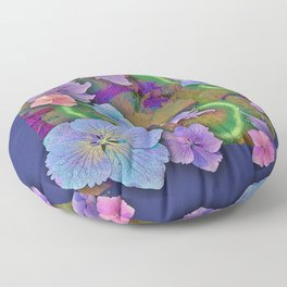 LACECAP HYDRANGEA THIMBLEBERRY ABSTRACT FLORAL Floor Pillow