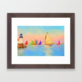 Rainbow Fleet Framed Art Print