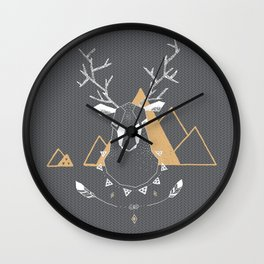 Christmas Geo Deer Gray Wall Clock
