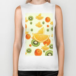 TROPICAL KIWI-ORANGES KITCHEN ART Biker Tank