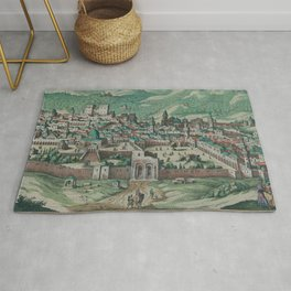 Vintage Map of Jerusalem, Nazareth and Rame Israel Rug