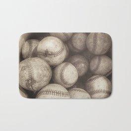 Bucket of Old Baseballs in Sepia Bath Mat