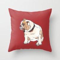 english bulldog Throw Pillows featuring English Bulldog by Tammy Kushnir
