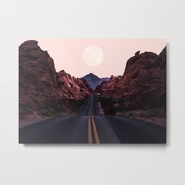 Road Red Moonrise Metal Print