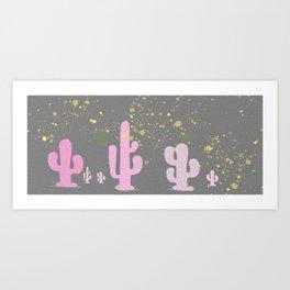 Pink and Grey Cactus Landscape Love Art Print
