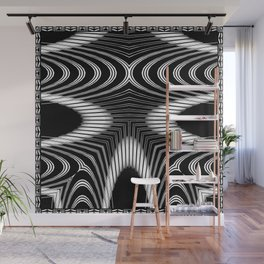 Geometric Black and White Skeleton African-Inspired Pattern Wall Mural