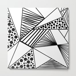 Modern abstract black white geometric stripes polka dots Metal Print