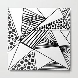 Modern abstract black white geometric stripes polka dots Metal Print