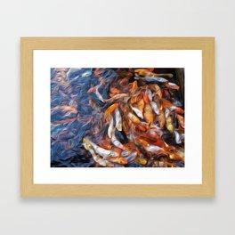 Koi Oil painting print Framed Art Print